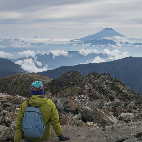 mt fuji distant view from mount warusawa summit