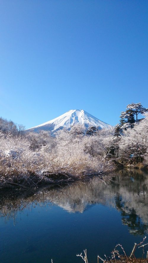 mt fuji blue sky mountain