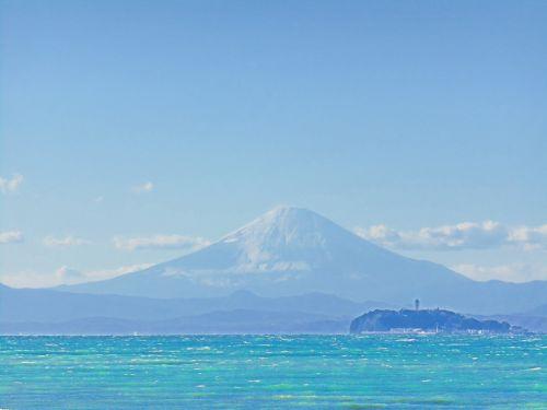 mt fuji sea blue sky