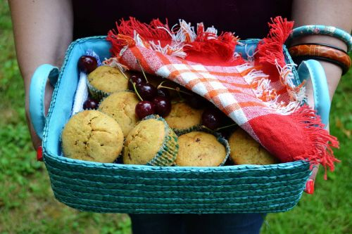 muffins basket hands holding food basket muffins