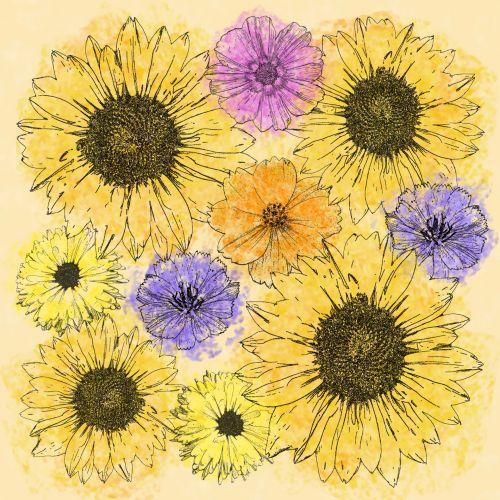 Multi Flower Line Drawing