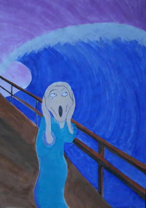 munch scream alienation watercolor