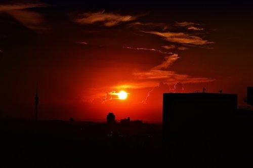 munich  sunset  silhouette