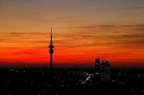 munich  evening sky  olympia tower