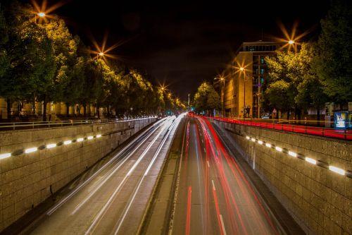 munich night road autos