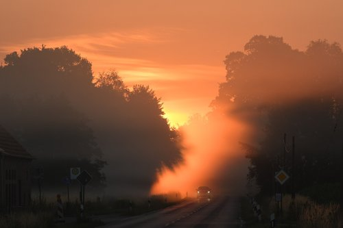 münsterland  sunrise  road