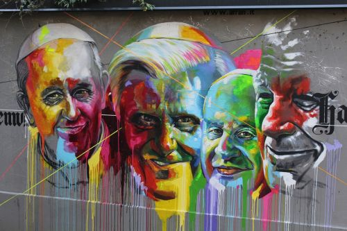 murals pope pope paul vi pope benedict xvi