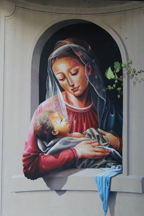 murals madonna with child jesus child