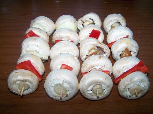 mushrooms skewers vegetables