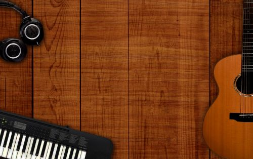 musical background music instruments on table music background