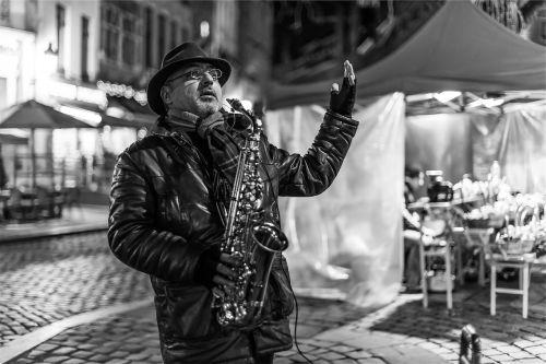 musician street performer saxophone