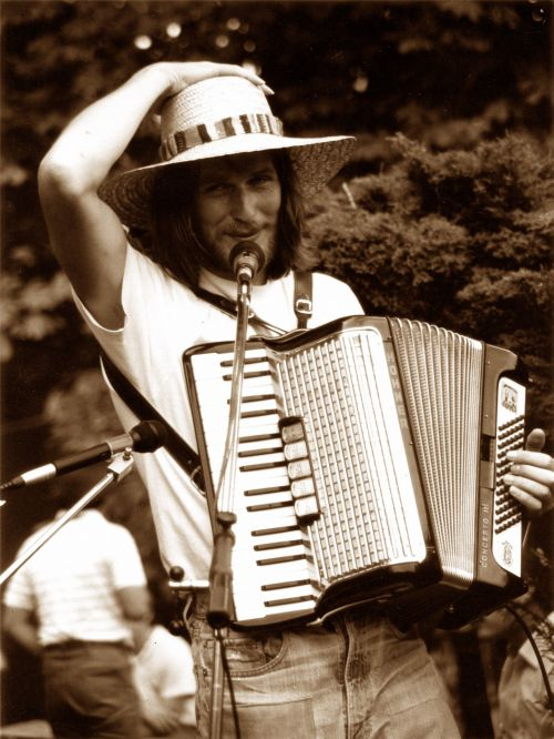 Musician With Accordion & Smile
