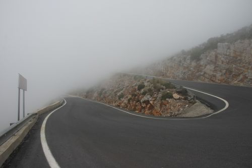 Mysterious Foggy Mountain Road