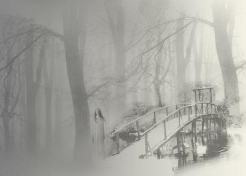 mystic woman mystic scene foggy
