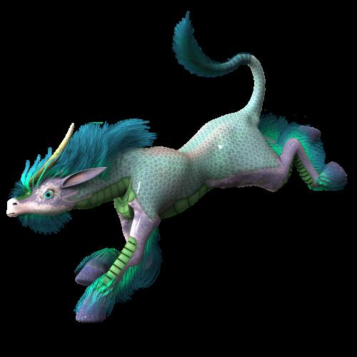 mythical creatures run rainbow colors