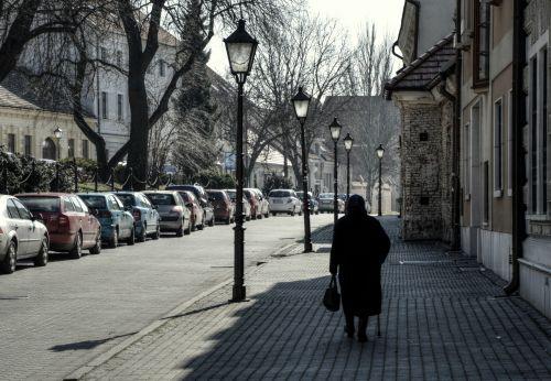 gatvė, senas, žmona, močiutė, vaikščioti, vienatvė, nuotrauka, Laisvas, vaikščioti
