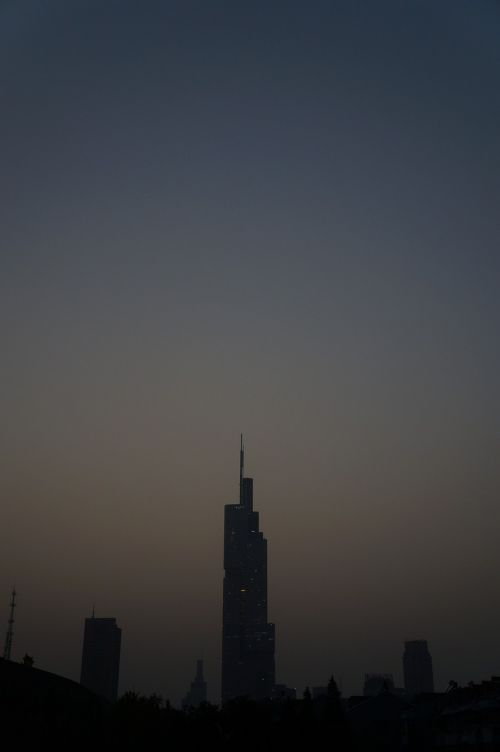 nanjing night view tall buildings