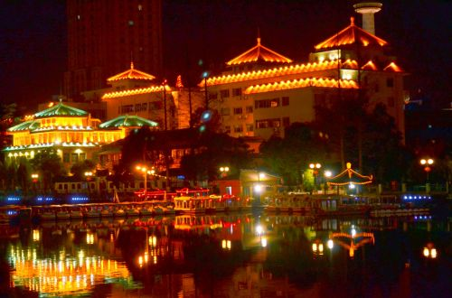 kraštovaizdis, nantong, nightscape, Kinija, centro, vandens kelias, naktinėje nakties scenoje