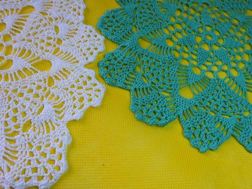 napkin turquoise needlework