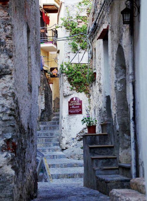 narrow lane old houses village