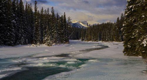 Nacionalinis parkas,Kanada,upė,ledas,vanduo,kraštovaizdis,vaizdingas,kelionė,ežero louise,peizažas,turizmas,mėlynas,vaizdas,natūralus,scena,Banfo nacionalinis parkas,Alberta,banff,ramus,kalnas,didingas,teka,lankas upė