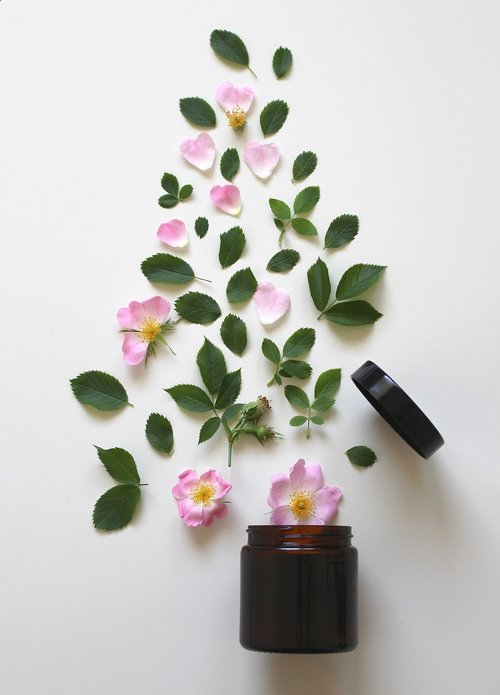 natural cosmetics  pink  rose
