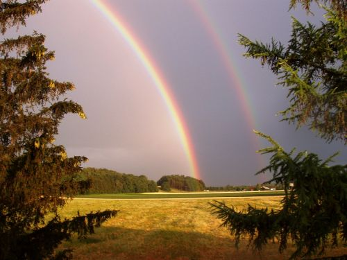 nature rainbow double rainbow