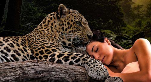 nature leopard woman