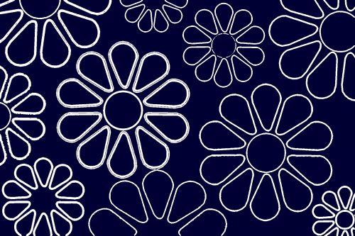 Navy & White Flowers