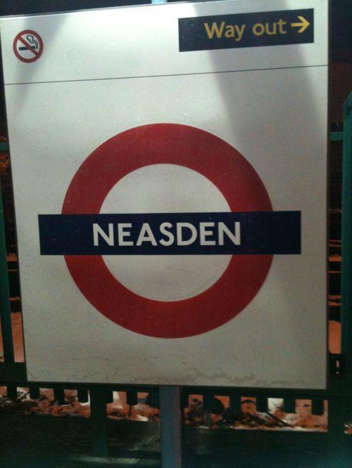 Neasden London Underground Sign