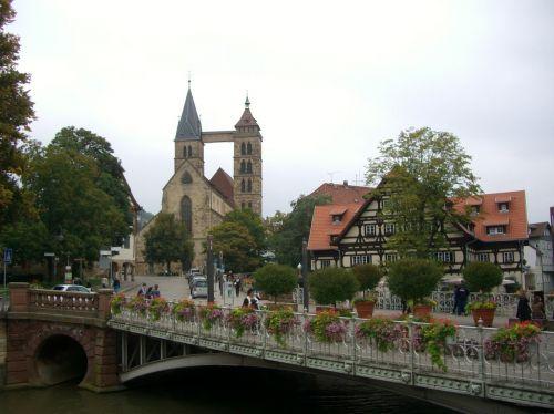 neckar canal bridge city church st dani