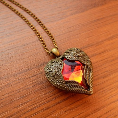 necklace with winged heart winged heart red heart