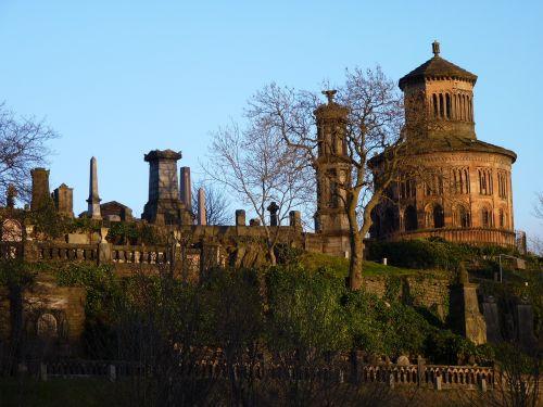 nekropolis,kapinės,mauzoliejus,Škotija,glasgow,kapas,abendstimmung,vakaro saulė,šešėlis,atmosfera,kapai,šviesa,kapinės akmenys,dangus,apšvietimas,saulė,dusk