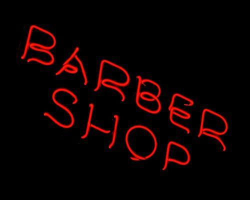 neon barber shop typography