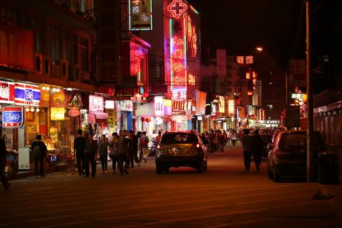 neon light street