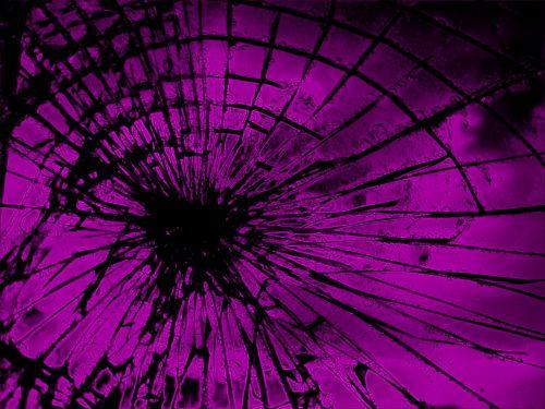 stiklas, įtrūkimai, radialinis, rožinis, šviesus, neoninis rausvas susmulkintas stiklas