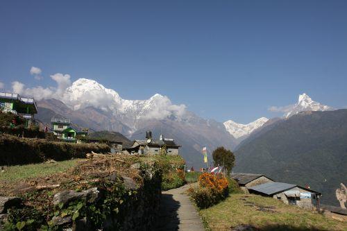 nepal tracking snow mountain