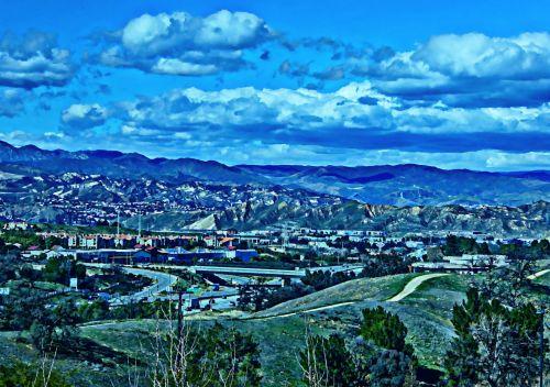 vista, kraštovaizdis, greitkeliai, namai, slėnis, scv, santa & nbsp, clarita & nbsp, slėnis, Kalifornija, debesys, Debesuota, kalnai, dažytos, tapybos, meno, nestled slėnyje