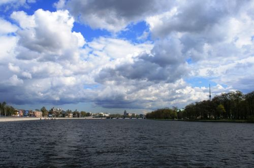 Neva River And Heavy Clouds