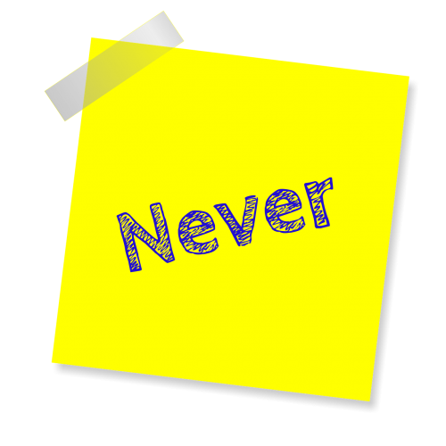 never yellow sticker note