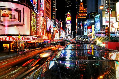 new,york,city,city view,street,times square,midtown,manhattan,night view,city lights,fast,traffic,vehicle,broadway,theatre,neon,night lights,stop light