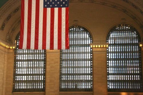 flag new york train station