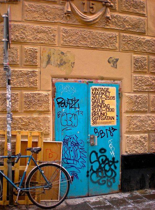 new and old door graffiti