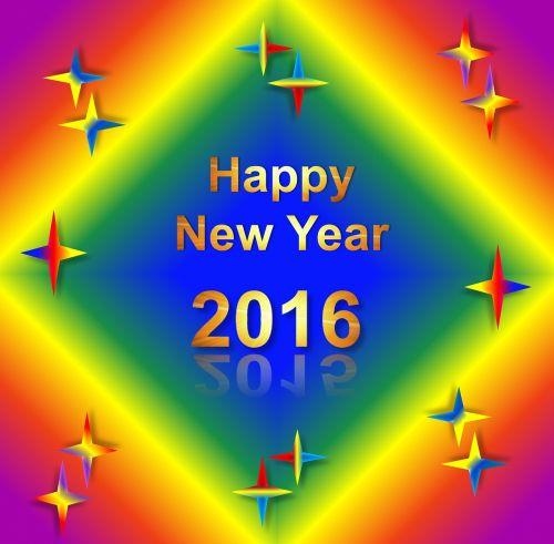 new year 2016 rainbow