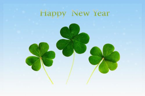 new year's day,new year,greeting card,postcard,happy new year,lucky charm,four leaf clover,green,blue,map,clover