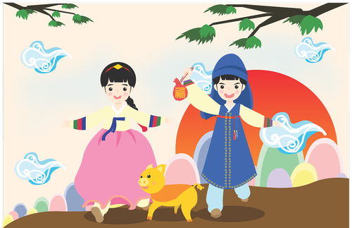new year's day  the night sky  hanbok