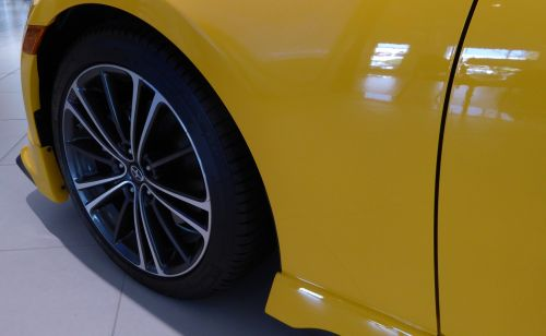 New Yellow Car Tire And Rim