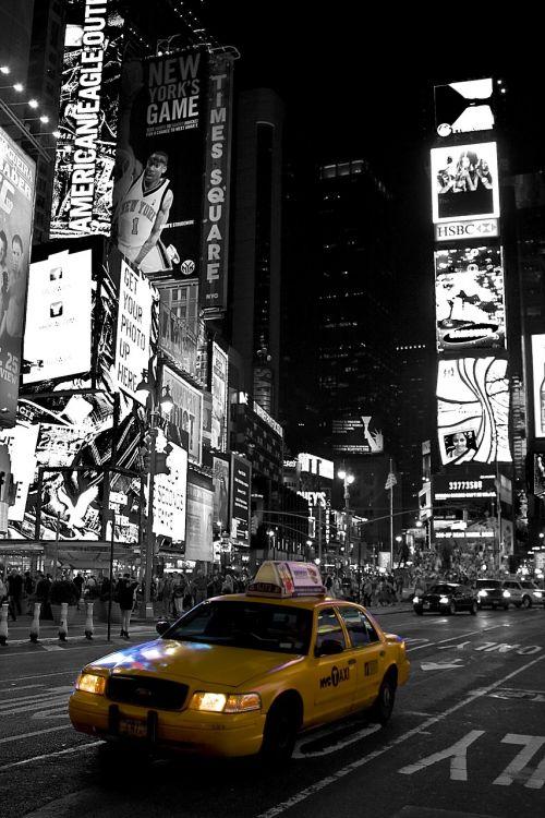 new york time square black white