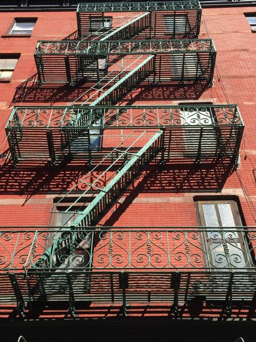 new york,usa,mulberry street,manhattan,stairs,emergency,ny,small-italy,little italy,iron,building,red brick