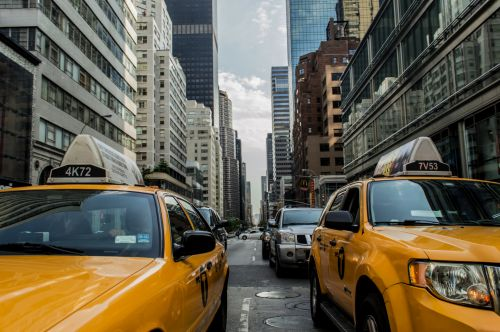 taksi, Taksi, Manhatanas, naujas & nbsp, York, pastatai, gatvė, kelias, taksi, automobiliai, eismas, gabenimas, miesto, miestas, geltona, New York taksi
